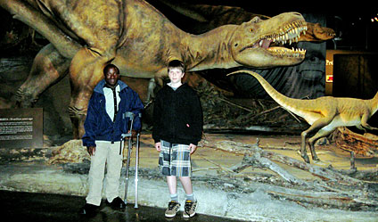 Joseph with Tim Shaw at the Dinosaur Museum
