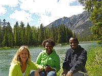Joseph, Jackie and I at the edge of the Bow River in Banff